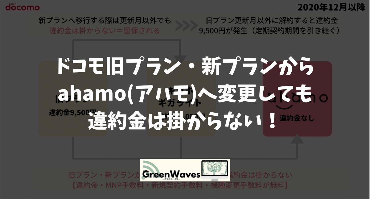 ドコモ旧プラン・新プランからahamo(アハモ)へ変更しても違約金は掛からない!