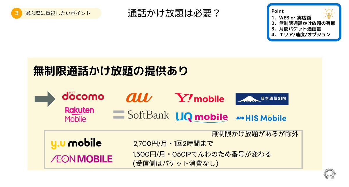 携帯電話料金プランの選び方2通話無制限オプションがあるか
