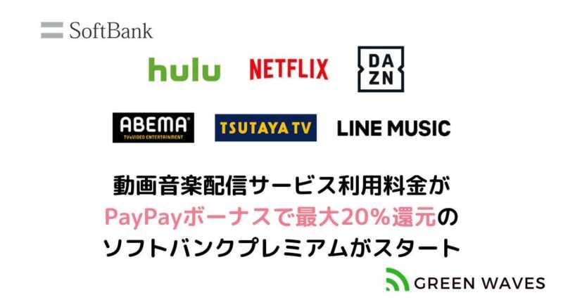 動画音楽配信サービス利用料金がPayPayボーナスで最大20%還元のソフトバンクプレミアムがスタート